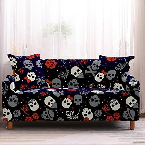Funda para muebles con diseño de calavera 3D, antideslizante, elástica, protector de sofá 1/2/3/4 plazas, 4 plazas, color 2
