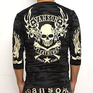 当店別注 バンソン VANSON ABV-802 ドライ6分 Tシャツ ブラックカモ色 吸汗速乾 抗菌防臭 UVカット