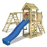 WICKEY Parco giochi in legno RocketFlyer Giochi da giardino con altalena e scivolo blu Torre d'arrampicata da esterno con sabbiera e scala di risalita per bambini