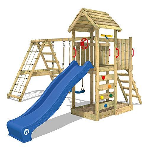 WICKEY Parque infantil de madera RocketFlyer con columpio y tobogán azul, Torre de escalada de...