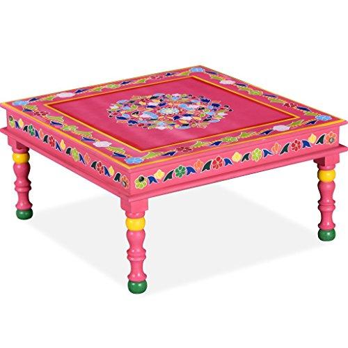 Festnight- Tavolino da caffè/Tavolino Salotto Legno Massello di Mango Rosa Dipinto a Mano
