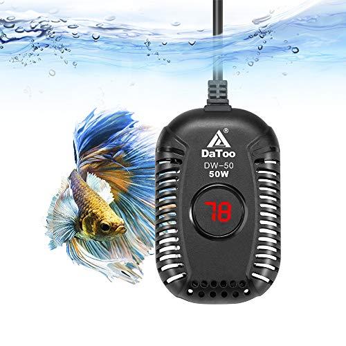 DaToo Small Aquarium Heater 50W Mini Fish Tank Heater 50 Watt Submersible with LED Temperature Display