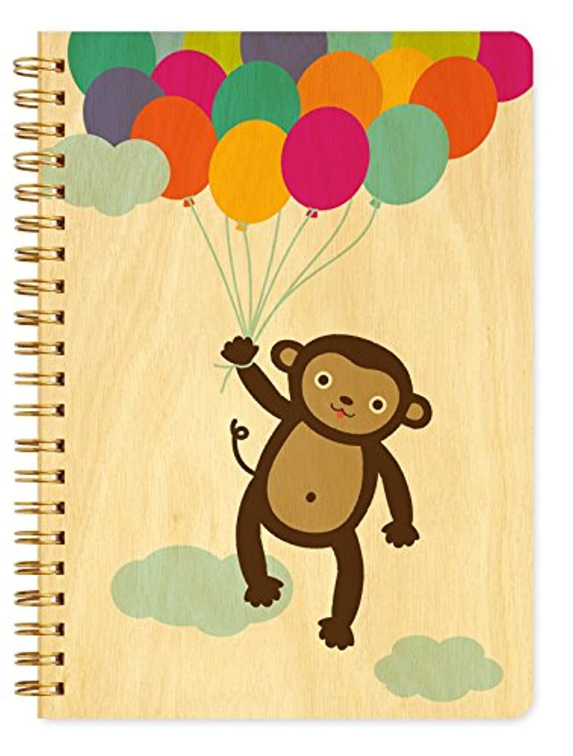 Night Owl Paper Goods Monkey Balloons Journal with Real Wood Covers