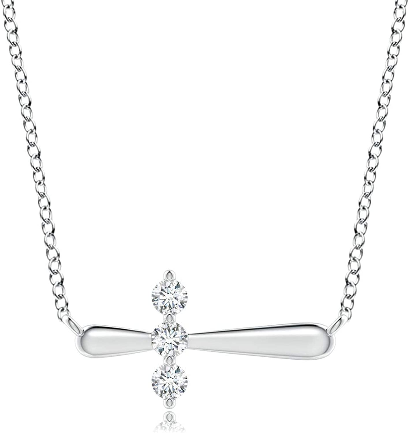 Diamond Sideways 35% OFF Manufacturer direct delivery Cross Necklace in White 2mm 14K Gold