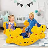 OKBOP Kids Rocking Chair Seesaw, 2 in 1 Rocker Horse Activity Center Table, Stable Safe Toddler Teeter Totter Toys, Play Equipment for Outdoor Indoor (Yellow)