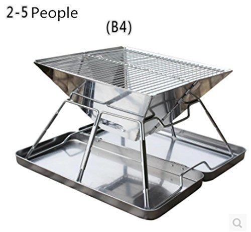 HomJo Barbecue Grill Camping Outdoor Grill BBQ Utensil Edelstahl Sockel Holzkohle Barbecue Portable Falten Beine ein BBQ Grill , 1