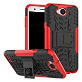 Yiakeng Compatible for LG X Charge Case, LG X Power 2 Case, LG Fiesta LTE Case, Shockproof Silicone Protective with Kickstand Hard Phone Cover for LG X Charge (Red)