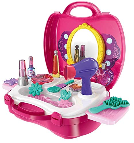 Reavian Attractive Beauty Dresser Beauty Makeup Pretend Play Set Fashion Set Suitcase Toy, Gift for Girls 3-8 Year Old Kids Great Gift