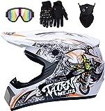 YXLM - Casco de motocross, color naranja y blanco, casco de moto para...