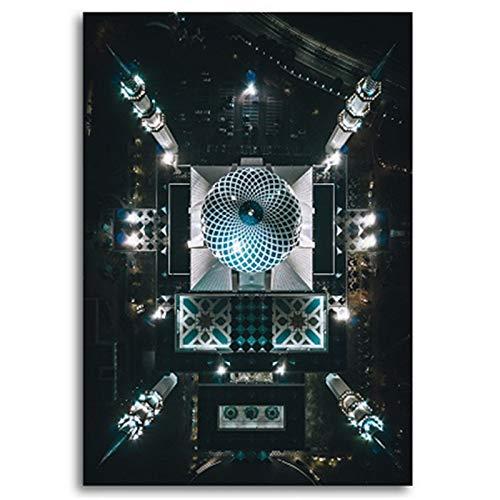 PCCASEWIND Islamische Moschee Gebäude Nachtansicht Wandplakate Und Drucke Muslimische Wandkunst Leinwandbilder Bilder Wohnzimmer Wohnkultur (50X70Cm Ohne Rahmen) Ad-2488