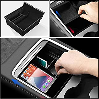 Carwiner 2021 Tesla Model 3/Y Center Console Organizer Tray Interior Accessories Flocked Armrest Hidden Cubby Drawer Storage Box with Coin and Sunglass Holder