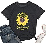 Accept Understand Love Sunflower T-Shirt Women Cute Funny Graphic Puzzle Tee Casual Short Sleeve Shirt Tops Size M (Black)