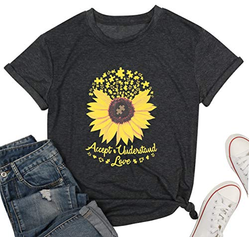 Accept Understand Love Sunflower T-Shirt Women Cute Funny...