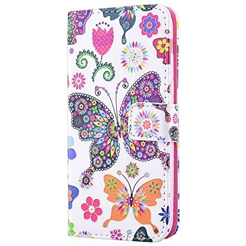 HMTECH Galaxy S10 Plus Coque Papillon colorées Fleur Slim Housse Étui PU Cuir Housse Coquille Couverture Magnétique Stand Compatible with Samsung Galaxy S10 Plus,Color Butterfly Flower FD