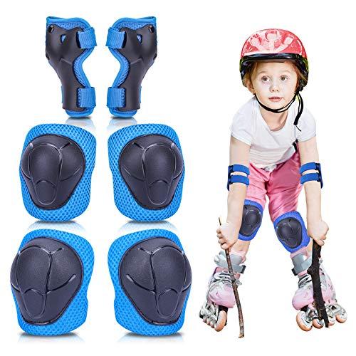 MAIGG Kinder Protektoren Set, Knieschützer Ellbogenschoner Handgelenkschoner, Kinderschutzausrüstung 6 in 1 Set, Schützer Set mit Klettverschluss für Skateboard Roller Skaten Balance Fahrradroller