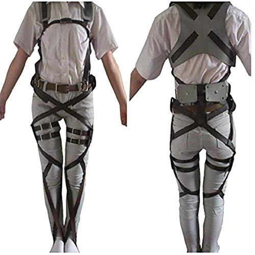 HiRudolph 1 X Cosplay Attack on Titan Shingeki no Kyojin Recon Corps Belt Hookshot Costume, Browen, free size
