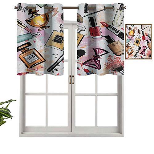 Hiiiman Cortinas opacas con ojales, diseño de cosmética y maquillaje con perfume, pintalabios, esmalte de uñas, set de 2, 106,7 x 60,9 cm para sala de estar, dormitorio, decoración del hogar