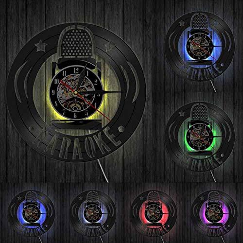 TJIAXU Karaoke Mikrofon Vinyl Schallplatte Wanduhr Modernes Design Musik Singen einzigartige Schwarze Vinyluhr Handmade Light Musician Decor
