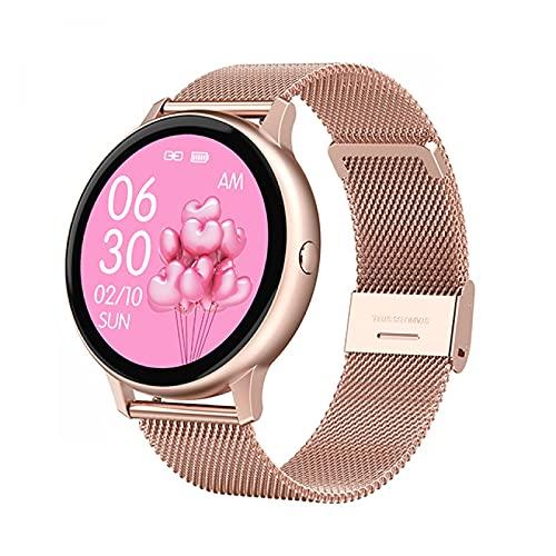 HYK Reloj Inteligente táctil Completo para Mujer Pulsera Impermeable ECG Monitor de frecuencia cardíaca monitorización del sueño Reloj Inteligente conexión para Hombres iOS Android(F)