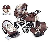 Urbano Pram Pushchair Baby Car Seat 3in1 System Seat Car (U2-Old Forest)