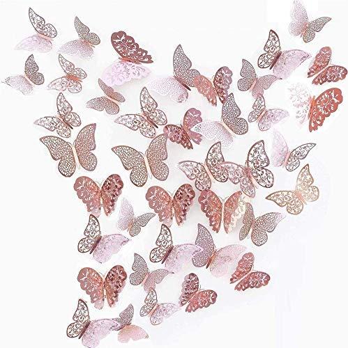 Papillons Decoration 3D Papillon Stickers pour Stickers Muraux Maison Salon Chambre d'enfants / filles Décor de fête decoratifs mariage (36 PCS Rose Rouge)