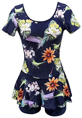 Ecupper Damen Badekleid mit Shorts Blumen Muster Vintage Einteiler Badeanzug Plus Size Navy Vögel DE40-42