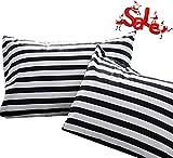 Wellboo Pillowcases Black Striped Pillow Cases Black and White Pillow Shams Stripes Bed Pillow Covers Cotton Standard Vertical Striped Pillow Protectors White Women Men Adults Envelope Closure 2 PCS