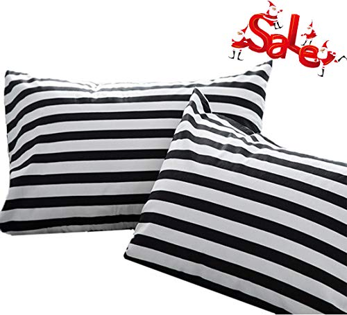 Wellboo Pillowcases Black Striped Pillow Cases Black and White Pillow Shams Stripes Bed Pillowcase Cotton Standard Vertical Striped Pillow Protectors White Women Men Adults Envelope Closure 2 PCS