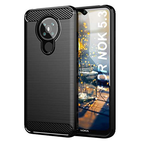 SCL Nokia 5.3 Hülle Für Nokia 5.3 Hülle, [Schwarz] Handyhülle Exquisite Serie-Carbon Design Schutzhülle mit Anti-Kratzer & Anti-Stoß Absorbtion Technologie für Nokia 5.3