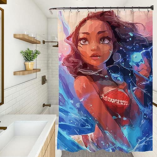 Cortina de ducha, impermeable resistente al moho cortina de ducha, protección del medio ambiente cortina engrosada (120 x 180 cm) chica africana