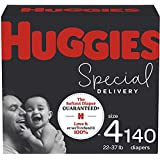 Hypoallergenic Baby Diapers Size 4, 140 Ct, Huggies Special Delivery, Softest Diaper, Safe for Sensitive Skin