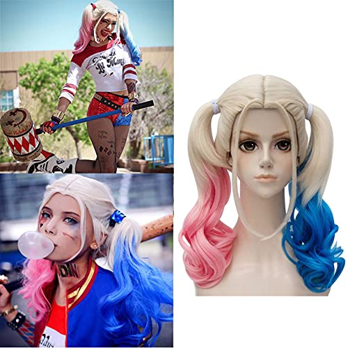 TSNOMORE Pink and Blue Cosplay Wig for Women, Girls, Daughters, Middle-Length Curly Ponytails Wig, Halloween Costume Party Cosplay Wig