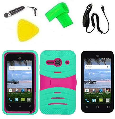 Heavy Duty Hybrid Phone Cover Case Cell Phone Accessory + Car Charger + Screen Protector + Extreme Band + Stylus Pen + Pry Tool For Alcatel Onetouch Pixi PULSAR LTE A460G (S-Hybrid Teal Pink) -  ExtremeCases