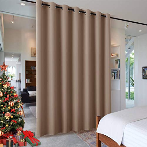 RYB HOME Room Divider Blackout Curtains for Patio Door, Portable Sliding Glass Door Drapes Sunlight & UV Proof Noise Reducing for Bedroom/Living Room/Kitchen/Gazebo, 100 x 84 inch, Cappuccino
