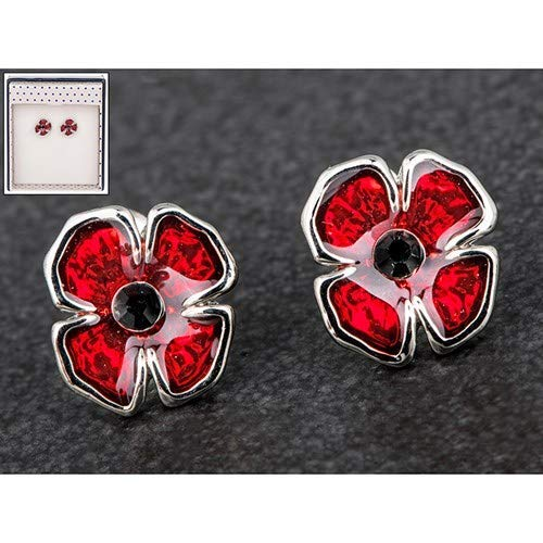 Equilibrium Poppy Collection Silver Plated Poppy Flower Stud Earrings