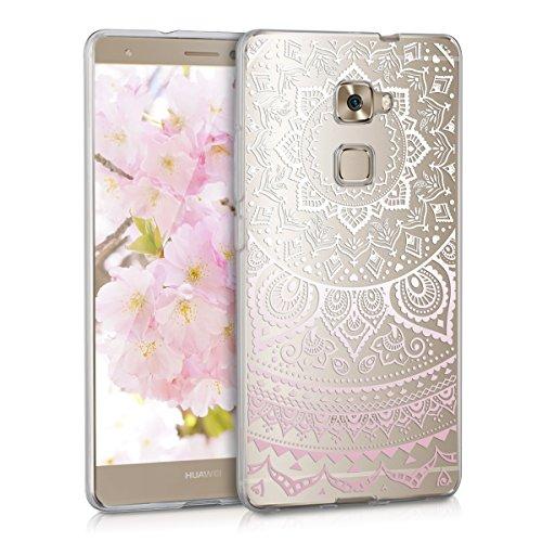 kwmobile Huawei Mate S Hülle - Handyhülle für Huawei Mate S - Handy Case in Indische Sonne Design Rosa Weiß Transparent