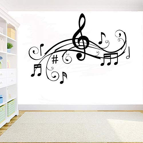 JXMK DIY vinyl wandtattoo muziek melodie muzieknoten sticker gitaar gitarrist muziek keyboard sticker slaapkamer woonkamer decoratie muursticker 97x57cm