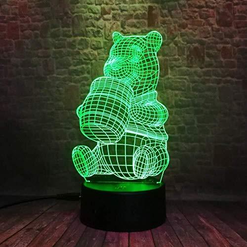 CRRQQ Neue nette Honig-Teddybär 3D LED Trinkwasser Bär 7 Color Gradient Nachtlicht Mood Lampe Kinder Kinder Weihnachten Geburtstag Geschenk-Versand