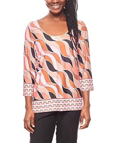 RICK CARDONA Damen-Blusen-Shirt 80iger-Style Druck-Shirt Sommer-Bluse Bunt, Größenauswahl:40