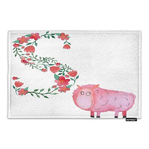 LDHHZ Felpudo de oveja romántica con diseño de flores y alfabeto con letra S, 40 x 60 cm