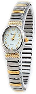 Ladies Classic Dainty Two Tone Stretch Band Watch-Oval Case