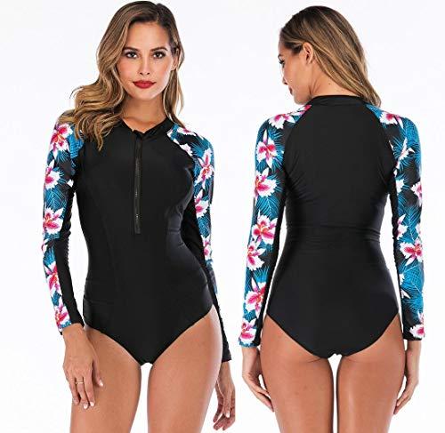 ZYLL Damen Surfen Bademode,Sonnenschutz-Tauchanzug für Schwimmen Surfen Tauchen Sport Badeanzug Langarm UV-Schutz Ausschlag Garde Oberteil,XL