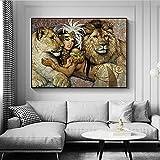 ZHJJD Poster e Impresiones egipcios Antiguos Señoras Mujeres y el Rey León Lienzo artístico Pintura Tradicional Cuadros Famosos Decoracion del hogar 60x80cm sin Marco