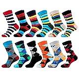 Merclix Bunte Socken Herren 43-46 Lustige Socken Geschenke für Männer, Baumwolle (12 Paar-Farbige Streifen & Karos)