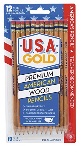 Write Dudes USA Gold Natural Wood Presharpened #2 Pencils 12-Pack (DFB65)