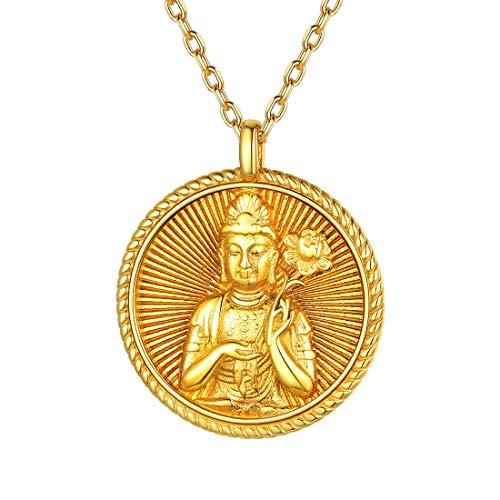 Monedas Patrones Budistas Plata de Ley 925 Collar Dorado Colgante Redondo con Cadena Fina 18 Pulgadas Joyería Amuleto para Mujeres Ocho Protectores Budhisattva para Doce Animales Horóscopos Ch