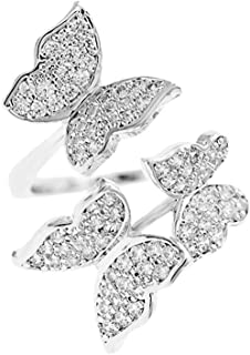 Dancing Three Butterfly Wrap Rings for Women Girls Cubic Zirconia Statement Shiny Sparkling Bling Adjustable Crystal Expan...