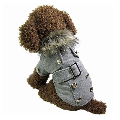Chinatera Winter Warm Haustier Luxus Jacke Overall Hosen Hund Kleidung (Grau, M) - 3