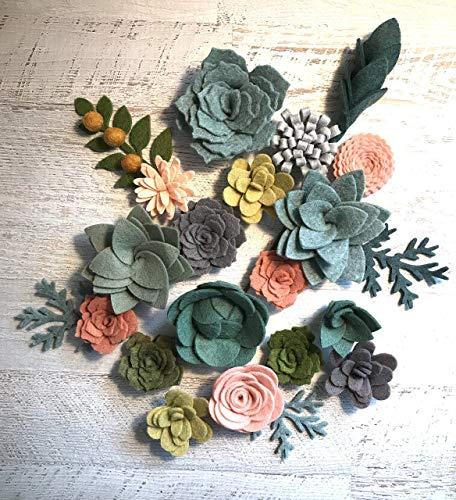 Wool Felt Succulents and Flowers - 18 Flowers & 4 leaves - Create Headbands, DIY Wreaths, Garlands, Vertical Gardens