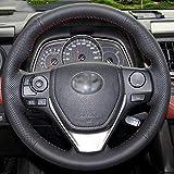 ZHHRHC Lenkradabdeckung aus schwarzem Leder, passend für Toyota RAV4 2013-2018 Toyota Corolla 2014-2017 Auris 2013-16